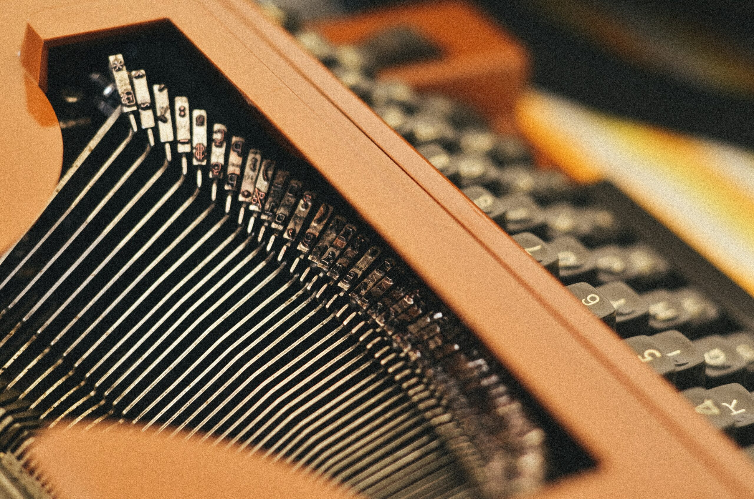 close-up photography of black and brown typewriter