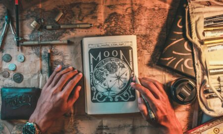 Moon book on top of world map