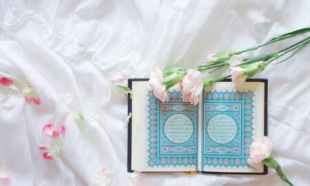 blue and white book on white and pink floral textile