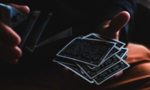 person playing with cards