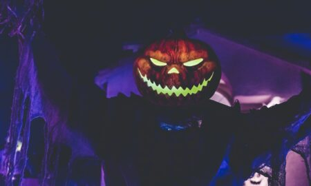 lighted Jack-o'-Lantern
