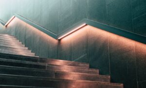 lighter staircase with railings